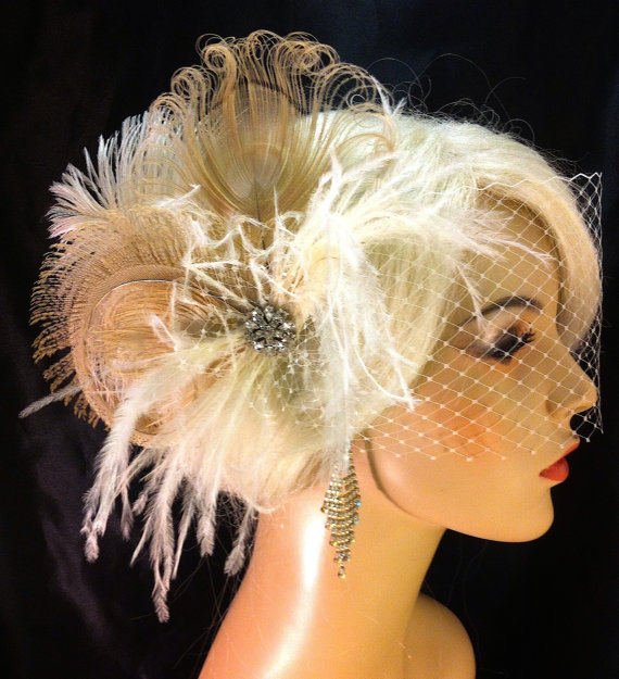 Wedding - Feather Bridal Fascinator, Feather Fascinator, Bridal Fascinator, Wedding Veil, Fascinator, Ivory/Champagne - Fancy Peacock