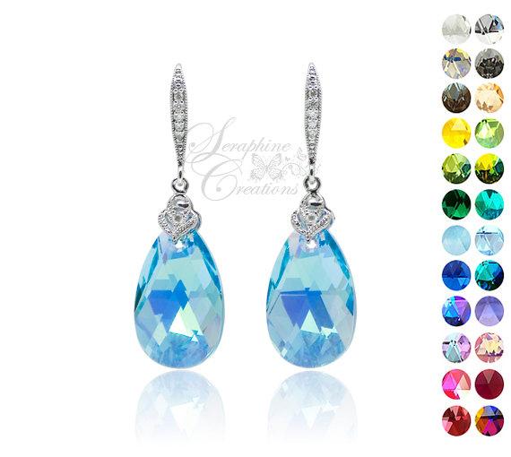Blue Crystal Earrings Swarovski Aquamarine Ab Wedding Jewelry Bridal Light Bridesmaid Gifts Something
