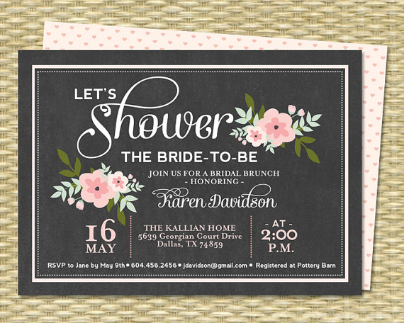 Wedding - Bridal Brunch Invitation Chalkboard Floral Bridal Shower Invitation Bridal Tea Baby Shower Pink Floral Vintage Chalkboard, ANY EVENT