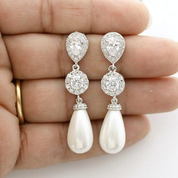 زفاف - Pearl Earrings Bridal Jewelry Pearl Wedding Jewelry Cubic Zirconia Posts White Pearl Large Teardrops Crystal Wedding Earrings