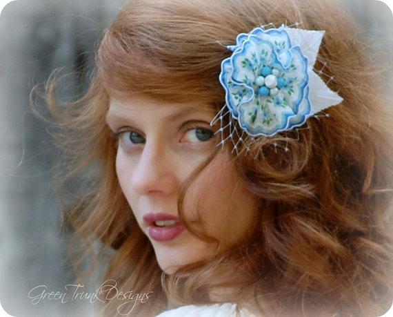زفاف - Blue Bridal Hair Flower Corsage Brooch Vintage Retro Pinup Hair Flower