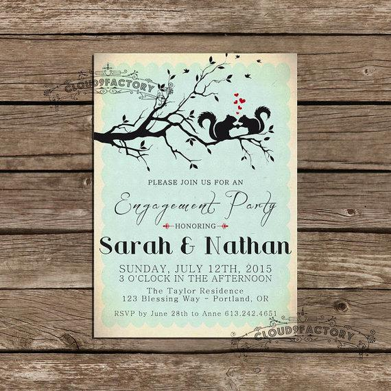 Hochzeit - Engagement Party Invitations - Woodland Squirrels -  printable diy - Whimsical Vintage Style - Hearts -  Digital File No.387