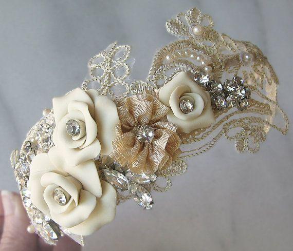 Mariage - Champagne Lace Headband With Vintage Rhinestones And Pearls, Bridal Headband, Rhinestone Head Piece - ELISABETA