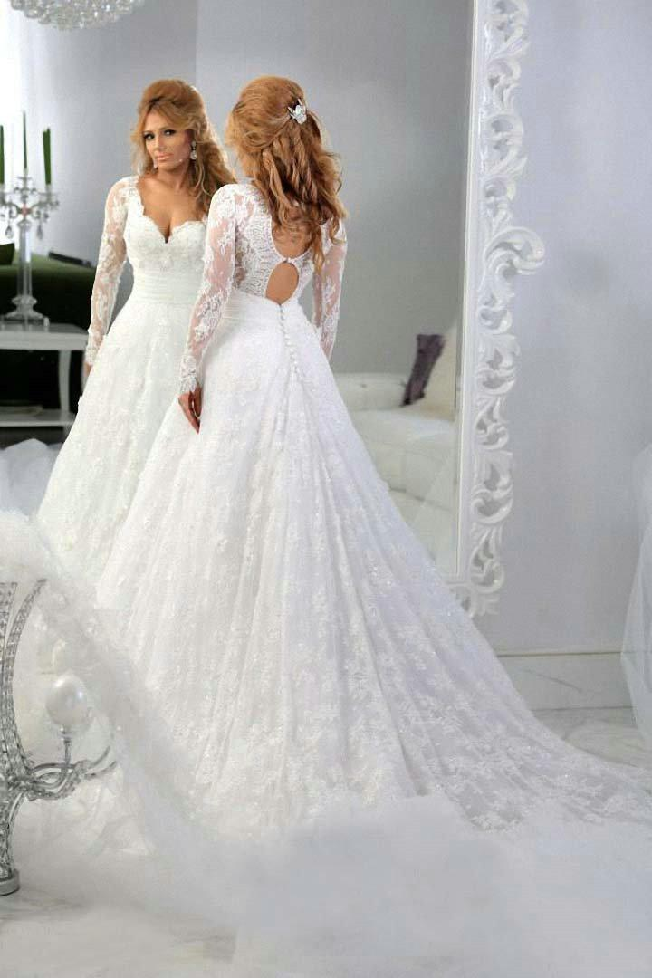 Vintage Lace Long Sleeves Beaded A-line Wedding Dresses Ball Tulle ...
