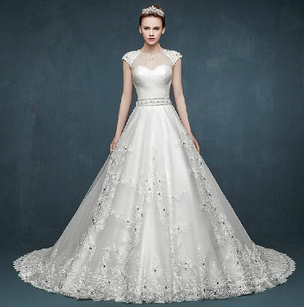 Luxury 2015 A Line Wedding Dresses With Lace Sheer Winter Crystal Bling Sleeveless Court Train