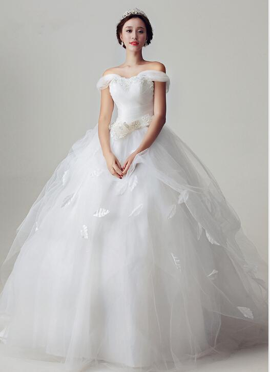 Charming 2015 a line white wedding dresses ball gowns sash for Custom wedding dress online
