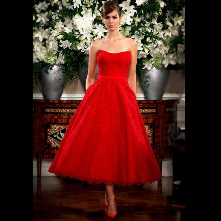 Vintage 2015 Red Wedding Dresses Lace Garden Sleeveless A Line Tea ...