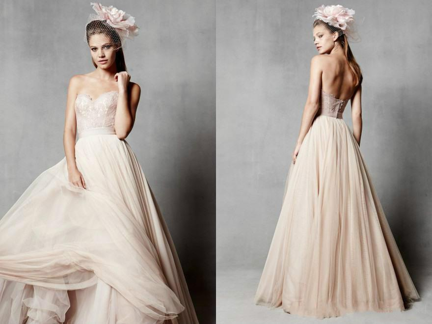 Blush wedding dresses ball with lace applique tulle