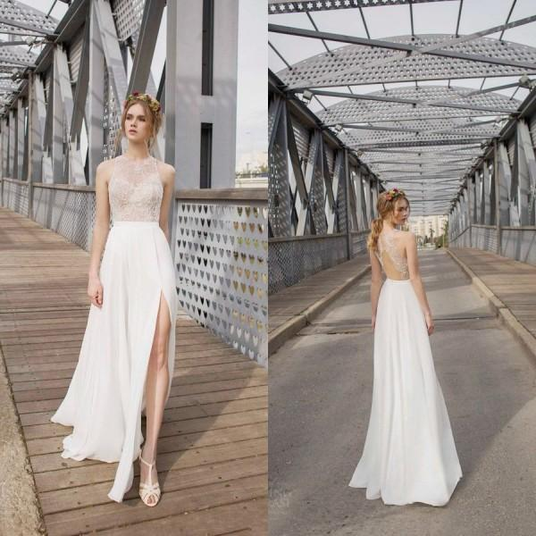 New Arrival Summer Beach Wedding Dresses 2015 With Lace Chiffon Side ...