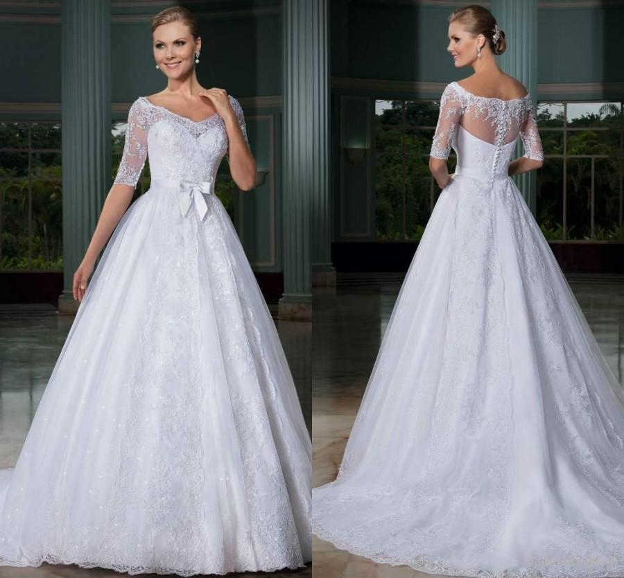 Vintage 2015 wedding dresses half sleeve sheer neck sash for Wedding dresses with half sleeves