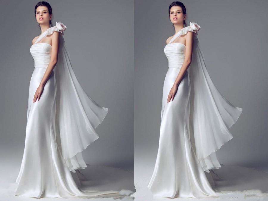 Satin Ball Gown Wedding Dress: Elegant 2015 Wedding Dresses One Shoulder Satin Organza
