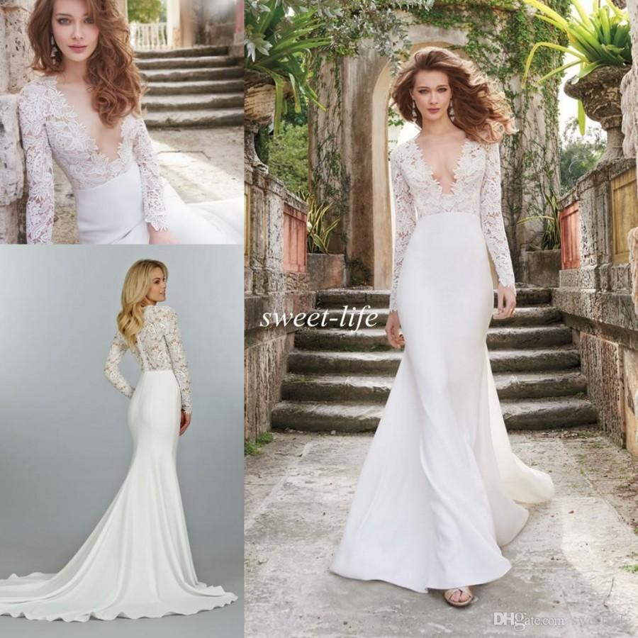 2015 Fall Lace Wedding Dresses Illusion Long Sleeve See