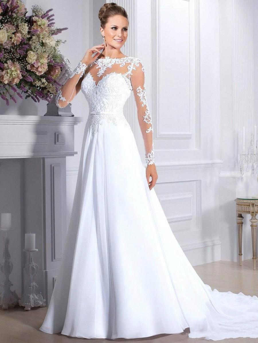 Elegant wedding dresses long sleeve 2015 chiffon illusion for Long sleeve chiffon wedding dress