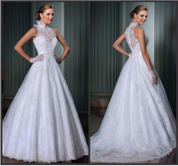 Свадьба - Vintage 2015 Lace Wedding Dresses High Neck Applique Covered Button Sheer Neck Sequins A-Line Bridal Dresses Gowns Chapel Train Wedding Ball Online with $128.17/Piece on Hjklp88's Store