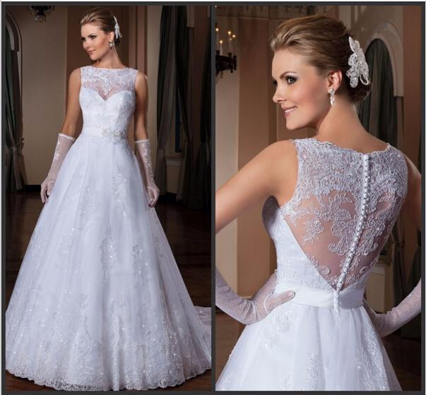 Stunning wedding dresses 2015 sheer crew neck lace sash for Crew neck wedding dress