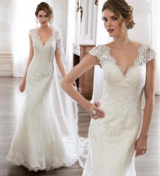 Wedding - Exquisite Spring Cap Sleeves Wedding Dresses Mermaid 2015 Lace Applique Sweep Train V-Neck Trumpet Sheer Garden Bridal Dress Gowns Custom Online with $127.28/Piece on Hjklp88's Store