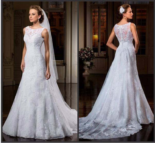 Свадьба - Vintage Wedding Dresses 2015 Scoop Sheer Neck Lace Sequins Illusion Back Cheap Bridal Ball Gowns Dress A-Line Applique Sweep Train Chapel Online with $126.39/Piece on Hjklp88's Store