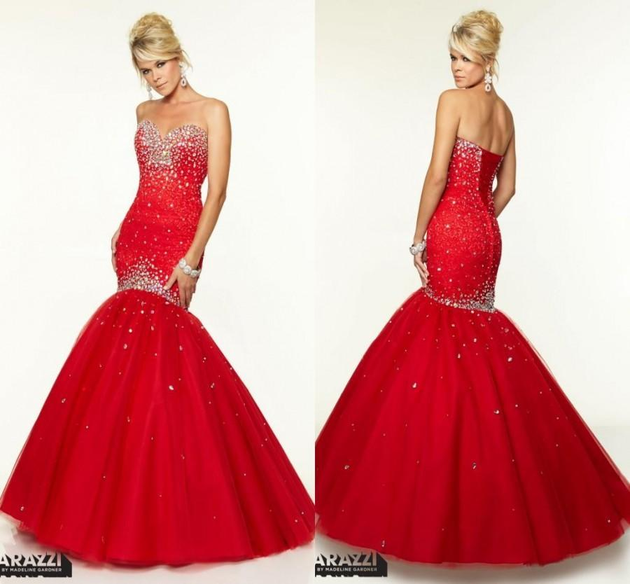 Red Evening Dresses Mermaid Prom Gowns 2015 Sequins Tulle Sweep ...