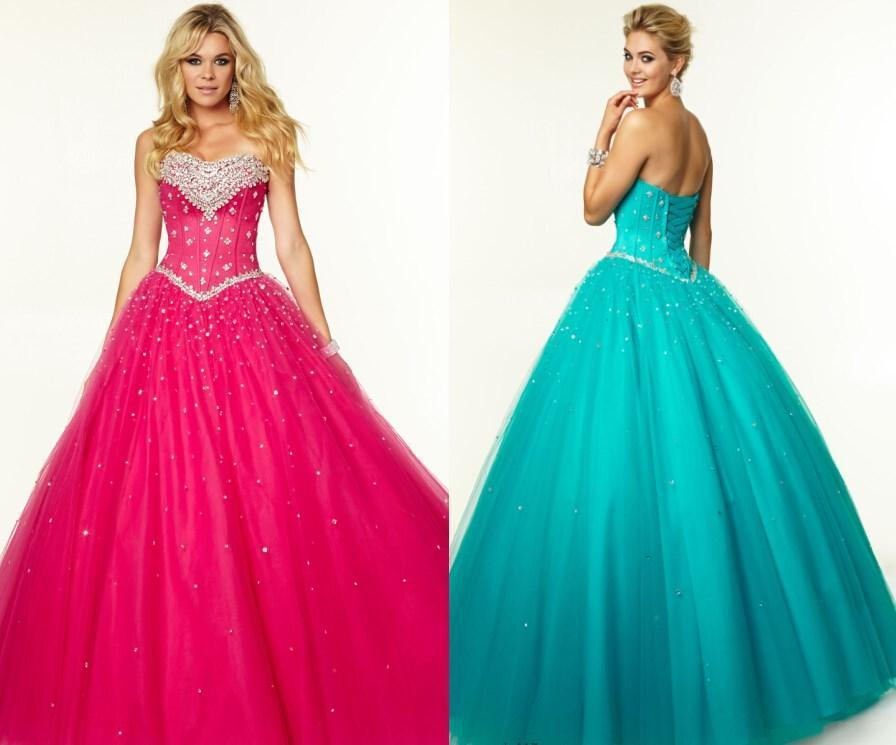 Hochzeit - 2015 Prom Dresses Crystal Quinceanera Ball Gowns With Sweetheart Neck Beaded Crystal Lace Up Back Sweep Length Tulle Princess Party Dress Online with $117.28/Piece on Hjklp88's Store