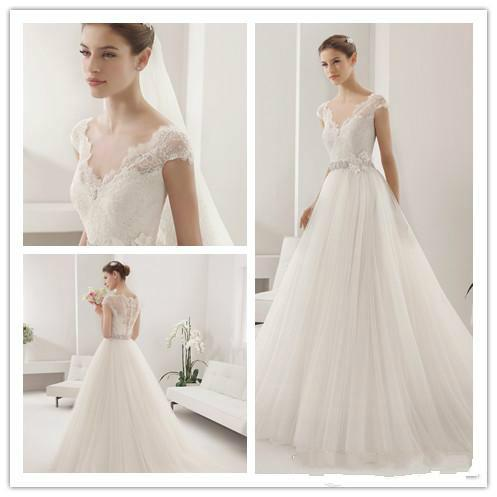 Elegant Simple Lace Applique Wedding Dresses V-Neck Tulle Lace Sheer ...
