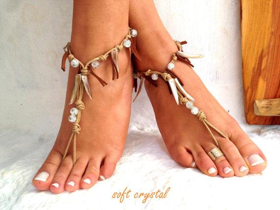 زفاف - Barefoot sandals. wedding sandals.  boho barefoot sandals, barefoot sandles, crochet barefoot sandals, , yoga, anklet  hippie shoes
