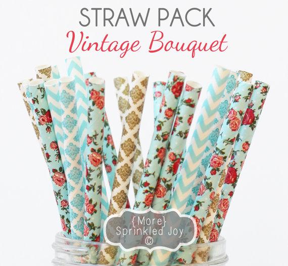 زفاف - BOUQUET Paper Straws, Party Decor, Teal, Cake Pops, Floral, Vintage, Shabby, Tea Party, Shower, Birthday, Baby Shower, Bridal, Wedding, Baby
