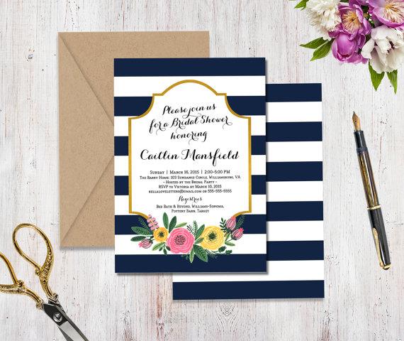 زفاف - Navy White Stripe Flower Shower Invitation - double sided custom 5x7 printable floral calligraphy gold pink yellow preppy bright modern
