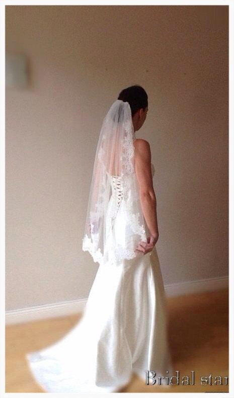زفاف - Lace wedding veil ivory lace veil fingertip lace veil, Paige