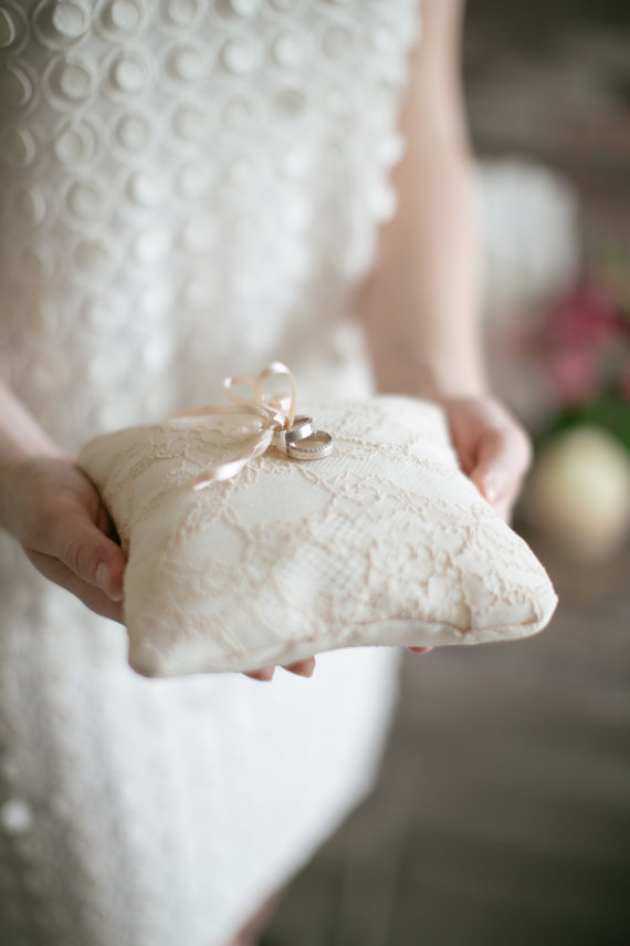 Ring Pillow Bearer Wedding Lace Rustic Cushion
