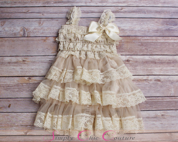Champagne Lace Rustic Flower Girl Dress Cream Lace Dress