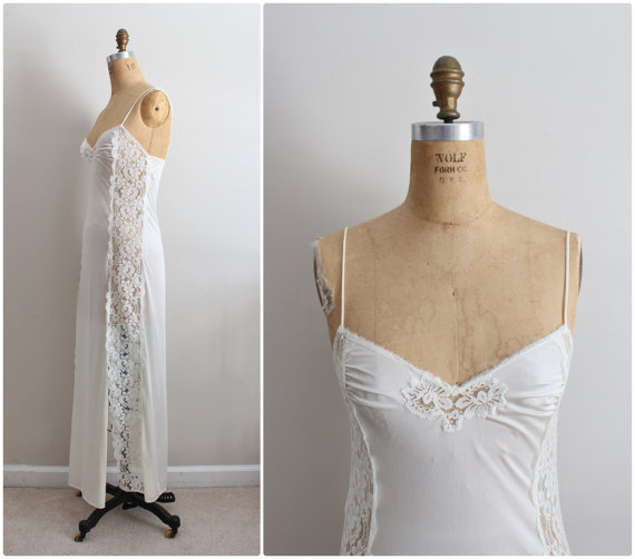 Wedding - 70s Kayser Ivory Slip Dress. Wedding Slip. Lace lingerie. Size S/M