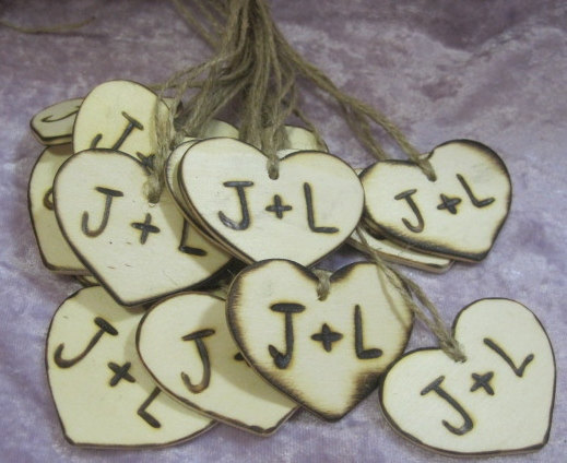 "Mariage - 2"" Rustic Wooden Wedding wood Heart Favor Tag Charms Personalized Initials Bride Groom woodburned Country woodland weddings"