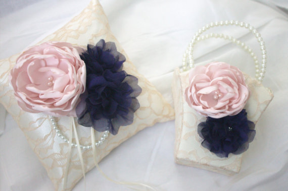 Navy Blue And Light Pink Ring Pillow Matching Flower Basket Wedding Ringbearer Champagne Lace