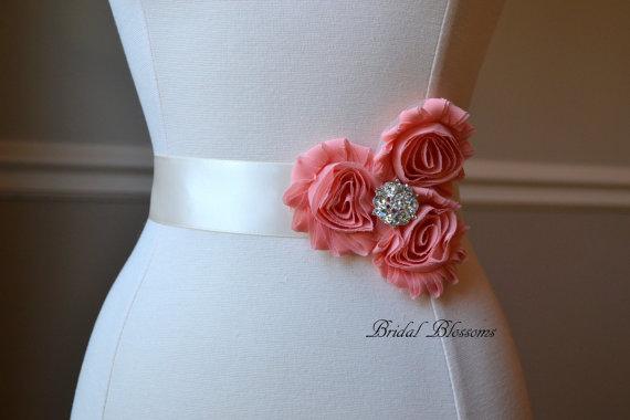 Mariage - LORYN Coral Vintage Inspired Bridal Sash