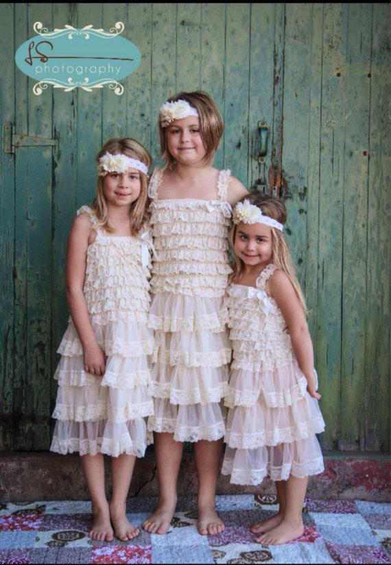 زفاف - Lace rustic vintage flower girl dresses, shabby chic lace girl dress, flower girl dresses, baby lace dress , junior bridesmaid dresses