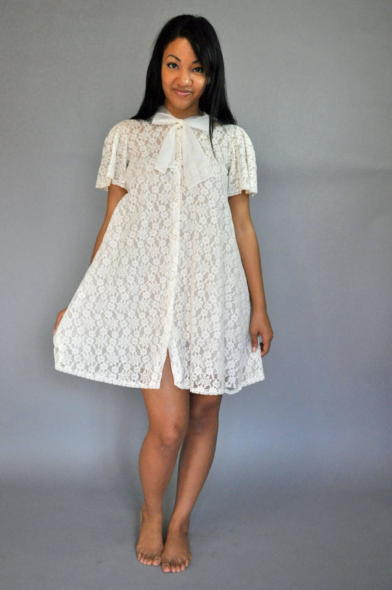 Vintage 50s Lace Robe Sheer White Lace Dressing Robe Short