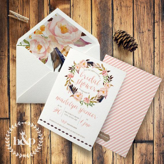 Mariage - Boho Floral Watercolor Bridal Shower Invitation