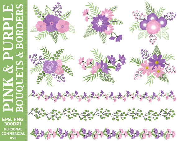 Buy 2 get 1 free pink and purple bouquets borders clip art buy 2 get 1 free pink and purple bouquets borders clip art compositions flowers roses borders clip art commercial and personal use mightylinksfo Choice Image