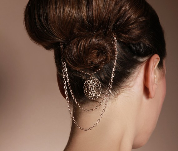 Düğün - Victorian gold bridal hair pin jewelry