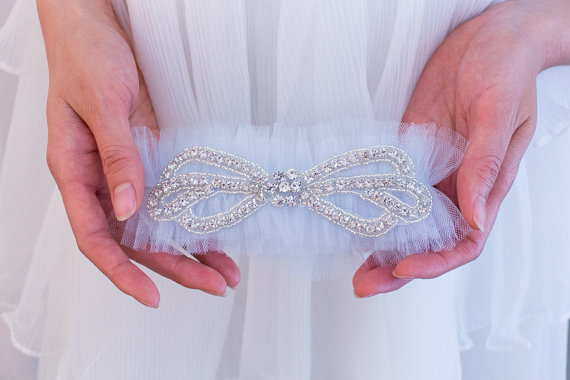 Mariage - Rhinestone Wedding Garter Belt- Soft Blue tulle, rhinestones, Blue Garter Belt, Pink, Champagne, Pale Blue, Black, Ivory garter