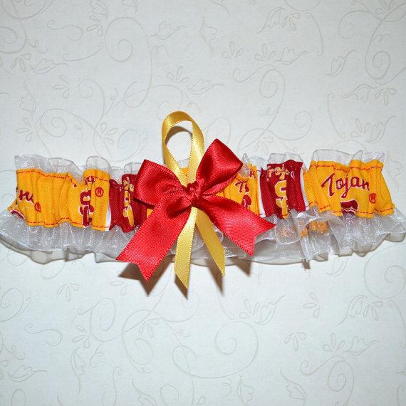 Mariage - Wedding Toss Garter Handmade with University of Southern California USC  fabric FLWM