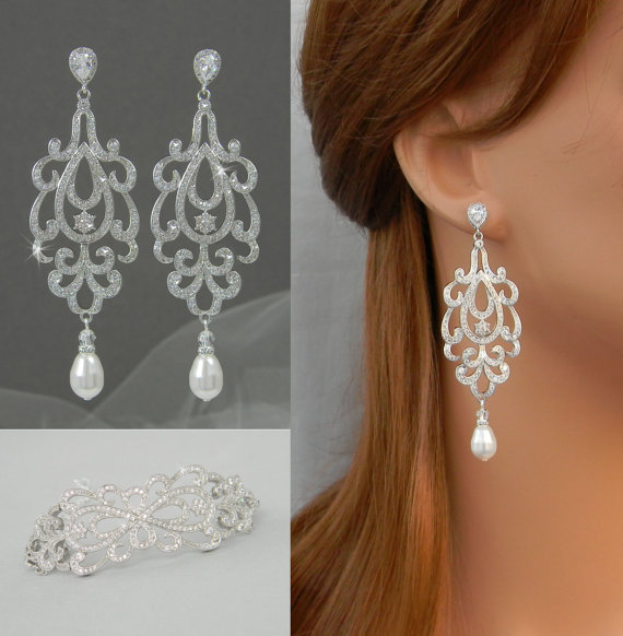 Crystal Wedding Bracelet Dainty Bridal Jewelry Set Chandelier Earrings Swarovski Katilee
