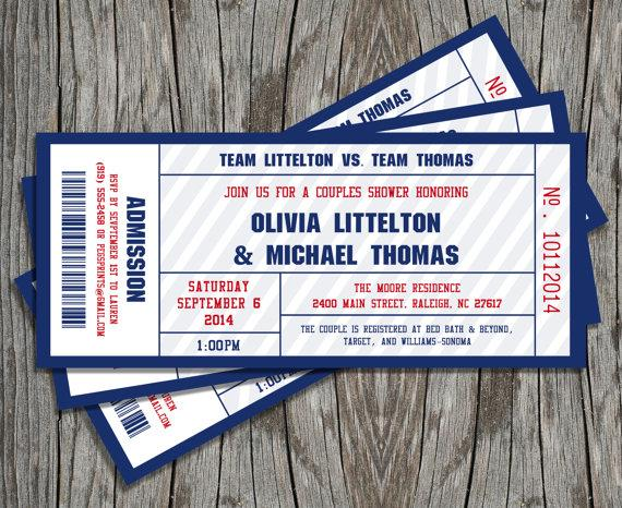 Couples Shower Sports Ticket Invitation Printable   Weddbook
