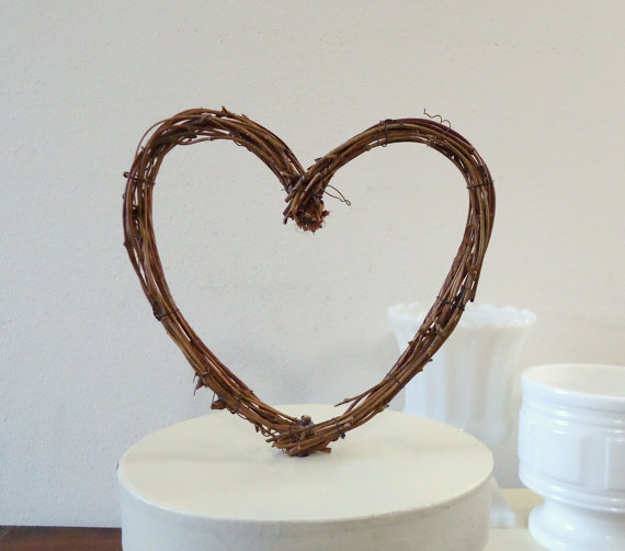 Wedding Cake Topper 6 Rustic Grapevine Heart