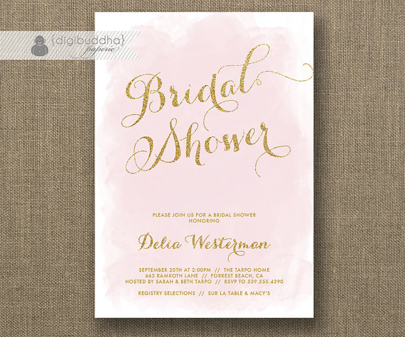 Wedding - Blush Pink & Gold Glitter Bridal Shower Invitation Watercolor Shabby Chic Wedding Hens Party FREE PRIORITY SHIPPING or DiY Printable- Delia