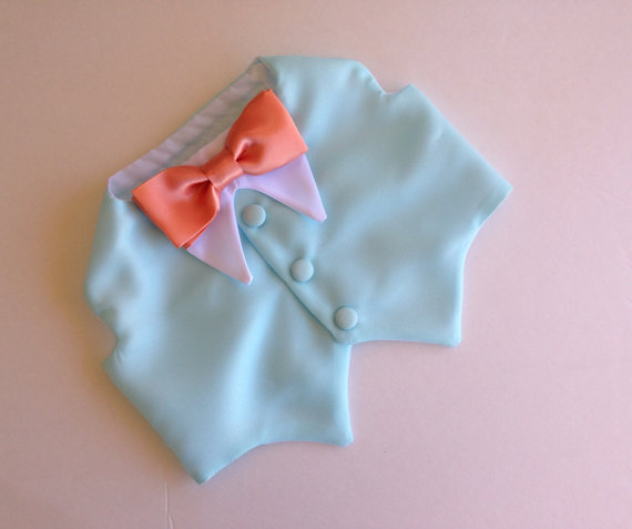Mariage - Ice Blue Dog Tuxedo with Custom Color Bow Tie