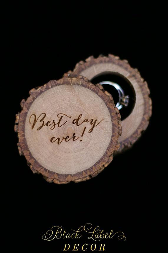 Wedding - Best day ever! - Engraved Wood Wedding Ring Bearer Slice, Rustic Wooden Ring Holder, Reclaimed Hickory Ring Bearer Pillow black velvet lined