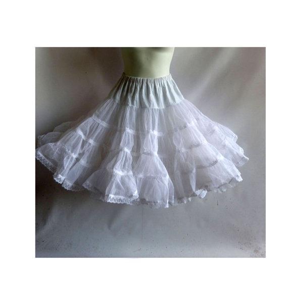 Wedding - Vintage Petticoat Size M White Crinoline Half Slip Nylon Lace Cupcake Rockabilly