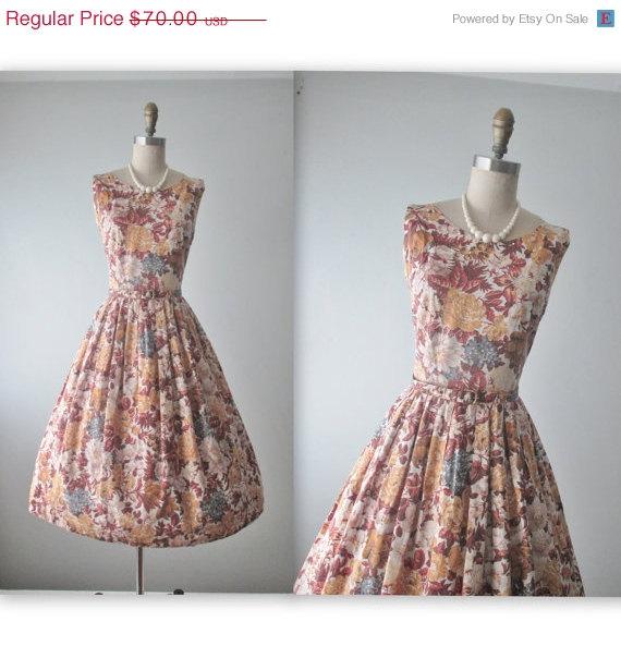 Wedding - SALE 50's Floral Dress // Vintage 1950's Floral Print Rhinestone Cotton Summer Garden Party Dress XS