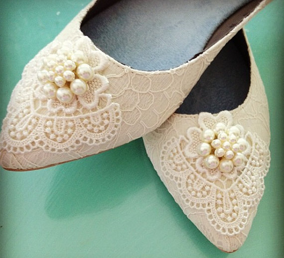 Mariage - Dainty Pearl Ponted Toe Bridal Ballet Flats Wedding Shoes - Any Size - Pick your own crystal color